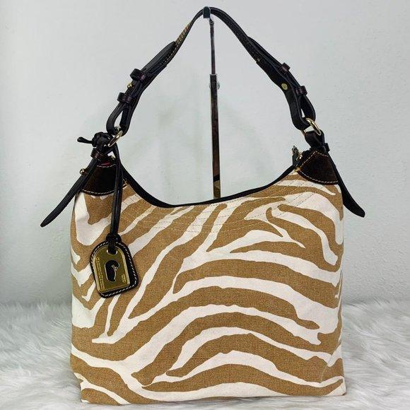 Dooney & Bourke Zebra Print Hobo Bag Tan